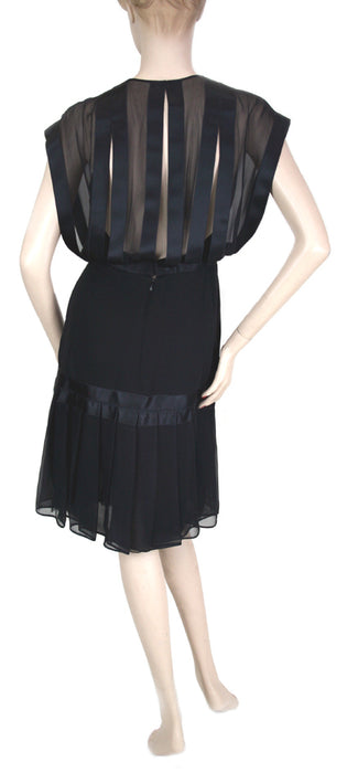 Galanos Satin Ribbon with Pleated Flounce Black Silk Dress Size 6