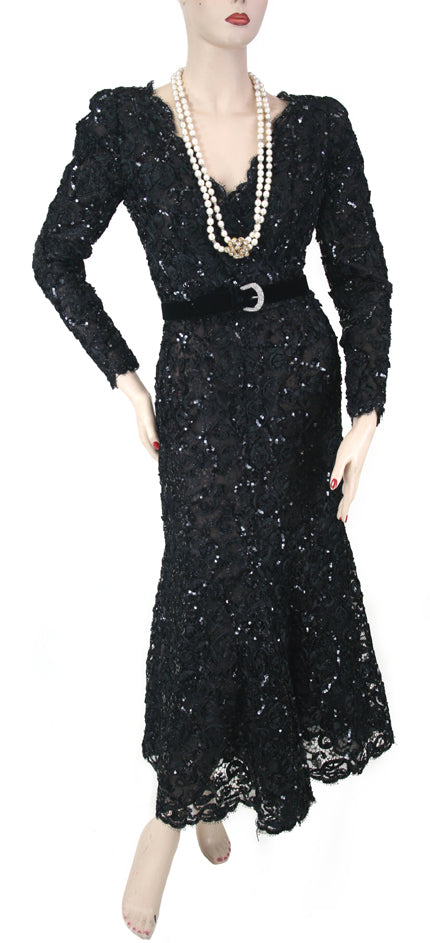 Oscar de la Renat L/S Sequin Dress with Belt Size 6