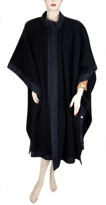 Pierre Faivret Paris Black Wool Cape with Border