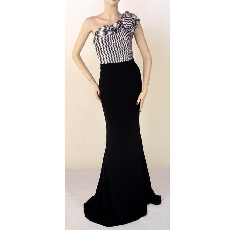 Frascara One Shoulder Evening Gown Black Silver Stripe Dress Size 6