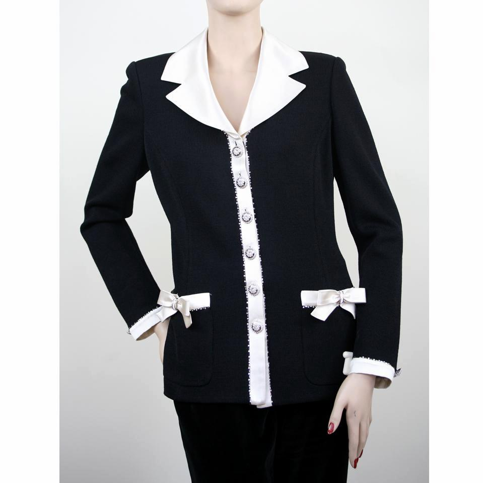 St. John Long Sleeve Wool with White Satin Black Jacket Size 8