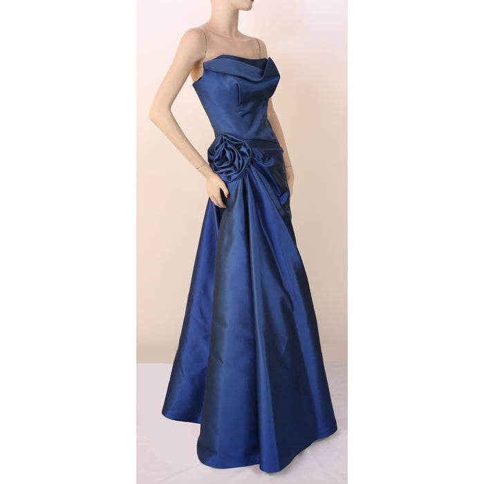 Frascara Long Strapless Evening Gown Sapphire Dress Size 8