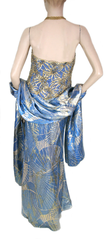 Vintage Galanos Strapless Sequin Blue Dress with Shawl Size 8