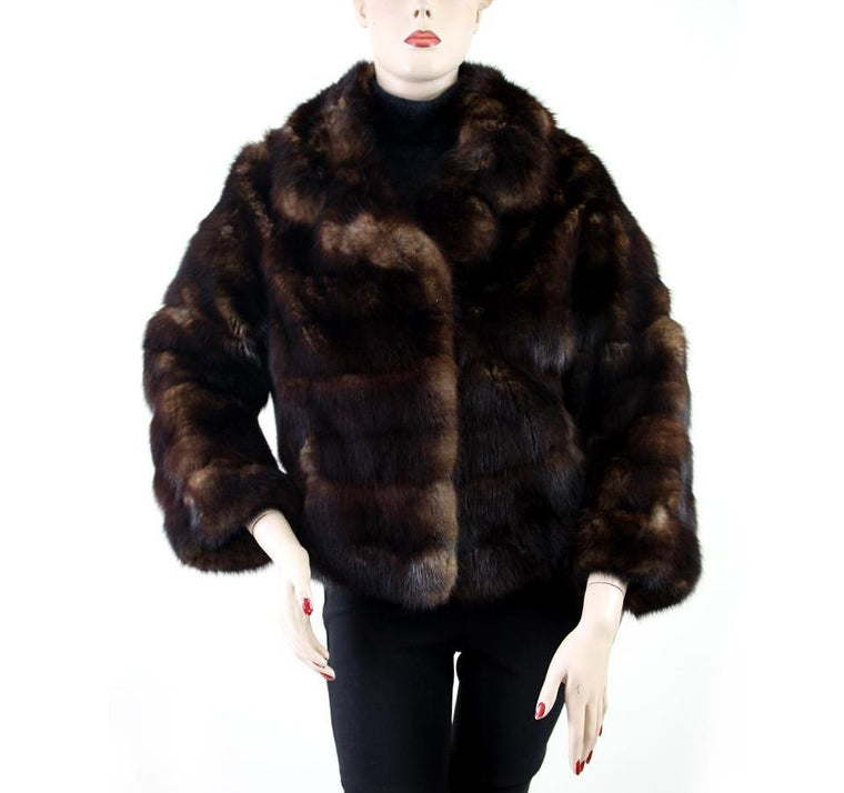 Herbert Furs American Sable Long Sleeve Brown/Black Jacket Size S