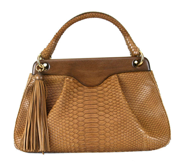 Suarez NY Wood Frame w/ Magnetic Closure Tan Python Handbag