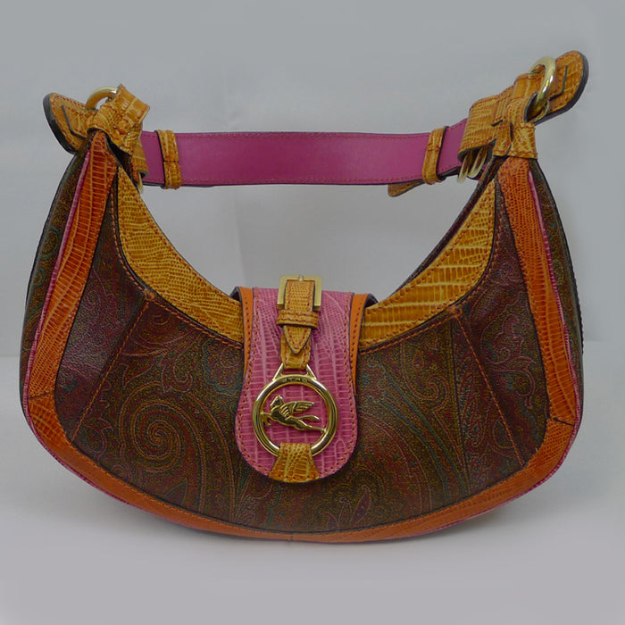 ETRO Shoulder Paisley Handbag with Embossed Leather