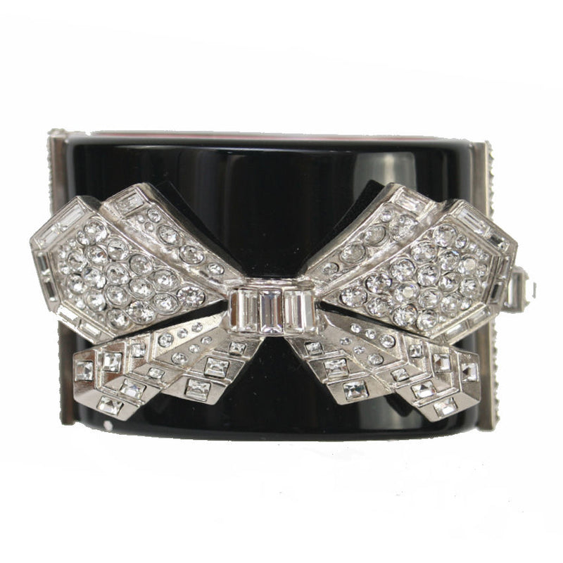 Chanel Resin Clamper Cuff With Strass Crystal Bow Black Bracelet