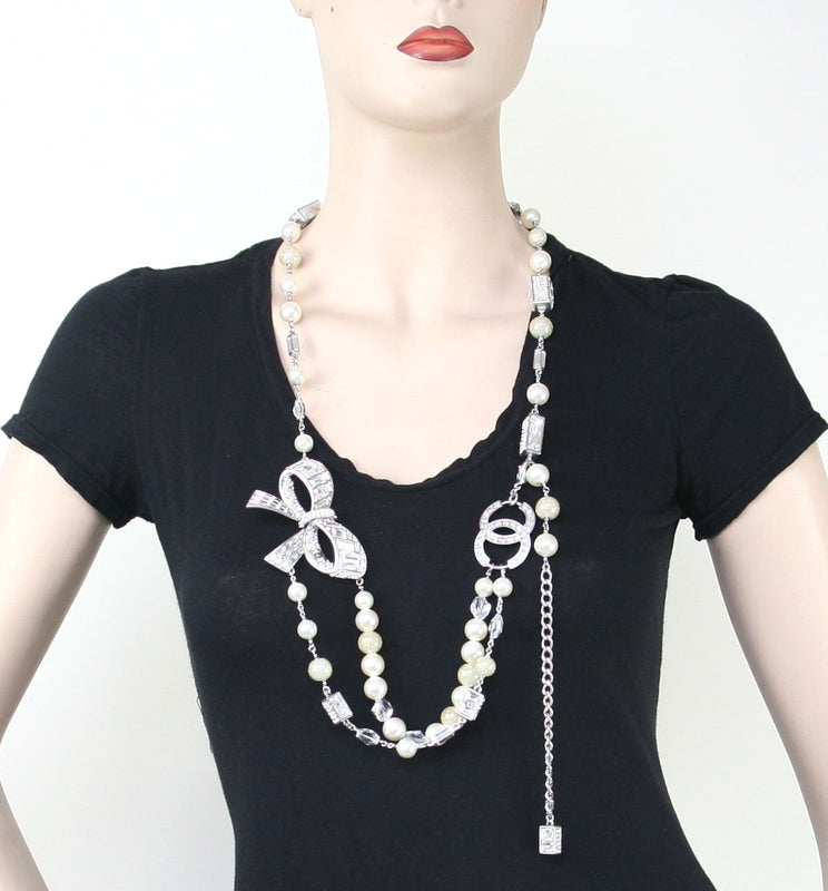 "Chanel ""Sooo Versailles"" Crystal Bow With Swarovski Crystal Pearls Belt/Necklace"