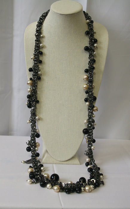 "Chanel 52"" Long Gunmetal Chunky Necklace"
