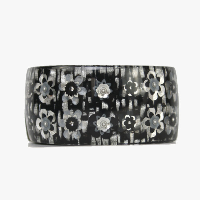 Chanel Resin Cuff Hinge Grey Flower With CC Black Bracelet