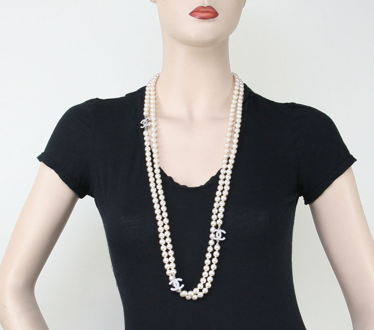 "Chanel Long White Pearls With Pearl ""CC"" Logo Stations Necklace"