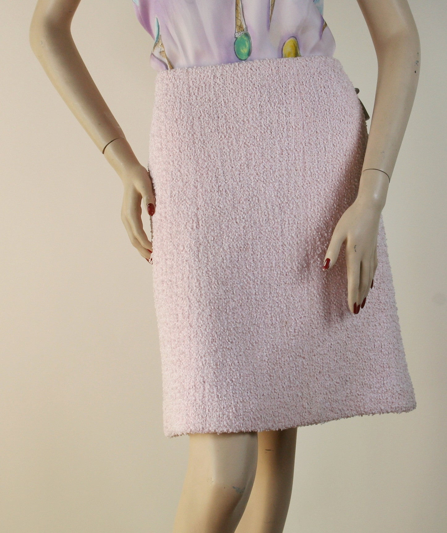 Chanel Tweed Pink Skirt Size 10/12