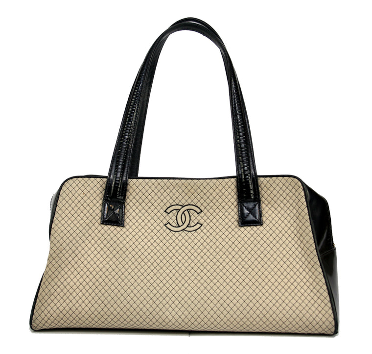 Chanel Zip Top Quilted with Patent Trim Handbag Issued 2002-2003