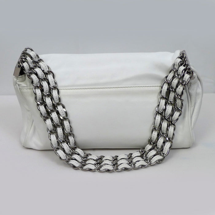 CHANEL White Leather Multi Chain Flap Bag
