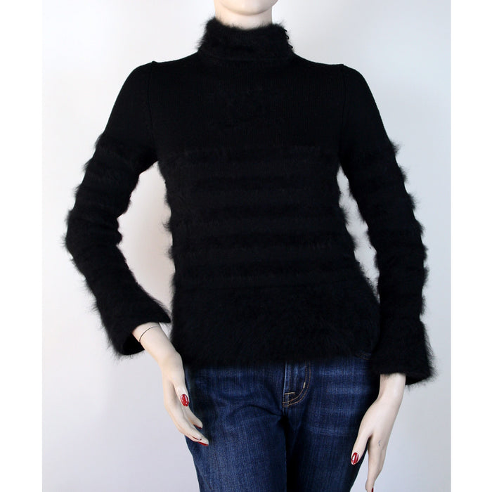 "Chanel Long Sleeve Split Collar with Front ""CC"" Logo Wool Angora Black Sweater Size XS/S"