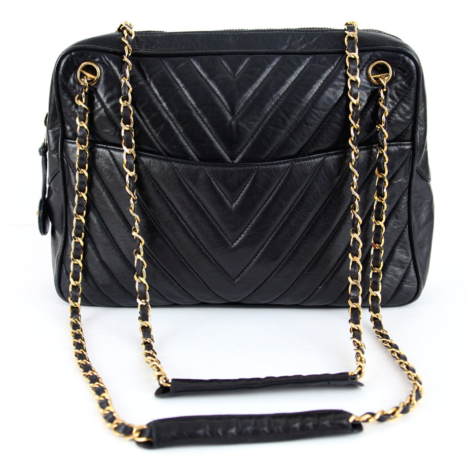 Chanel Vintage Black Chevron Oversized Camera Black Handbag