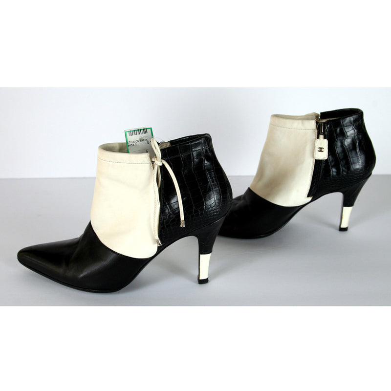 Chanel Leather Black & White Booties Size 7