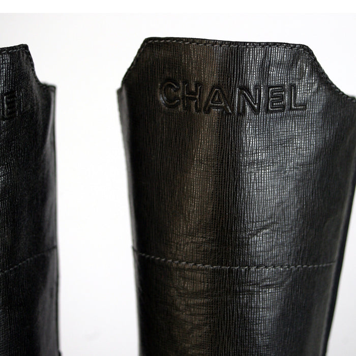 Chanel Tall Leather Olive Boots Size 9.5-10