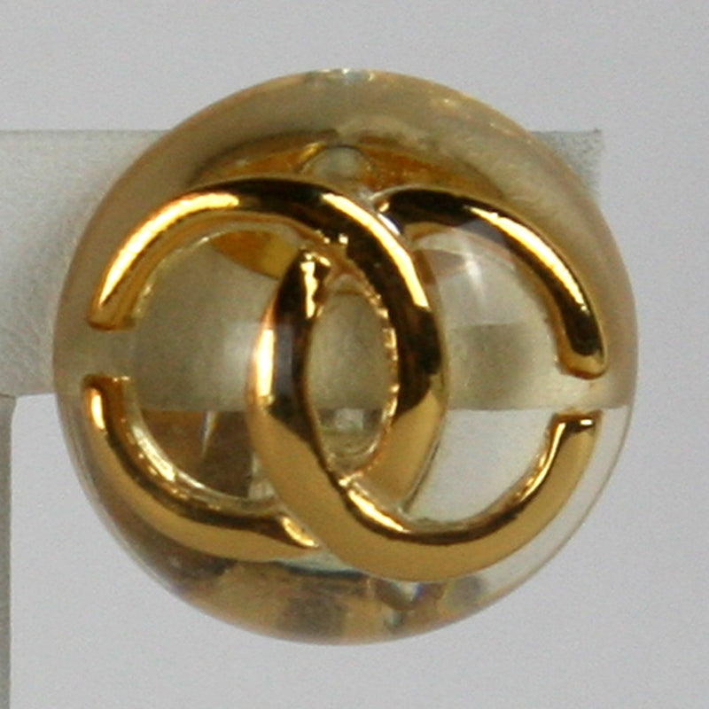 Chanel Round Clip Clear Gold Earrings