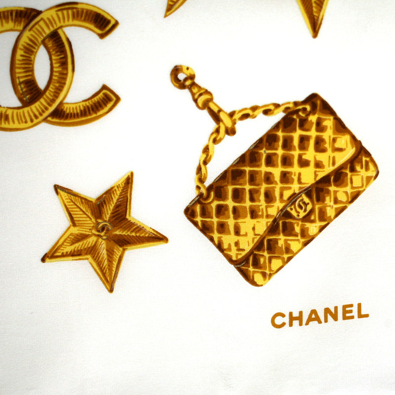 Chanel Cream with Gold Charms Print Scarf