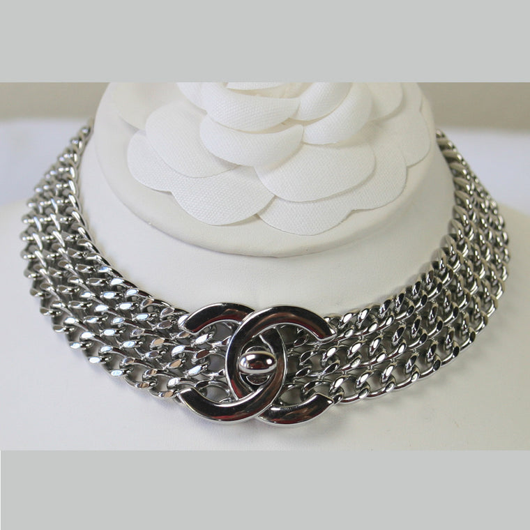 CHANEL Silver Chain Necklace with CC Turn Lock Choker 11