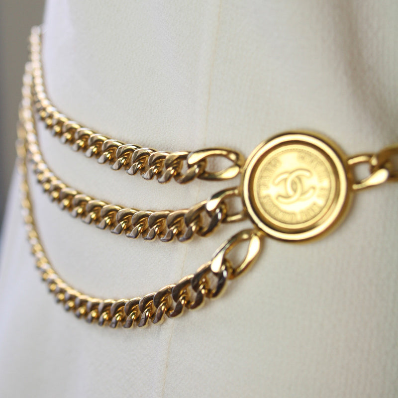 CHANEL 1980's Vintage CC Logo Goldtone 3-Chain Medallion Belt Size S/M