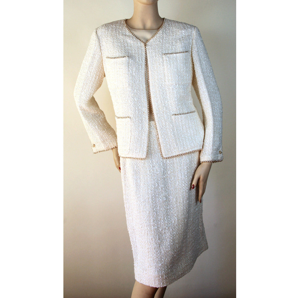 Chanel 3pc Skirt Jacket and Blouse with Pearl Trim Cream Suit Size 10/12