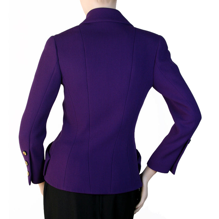 Chanel Long Sleeve Double Breasted Purple Jacket Size 6