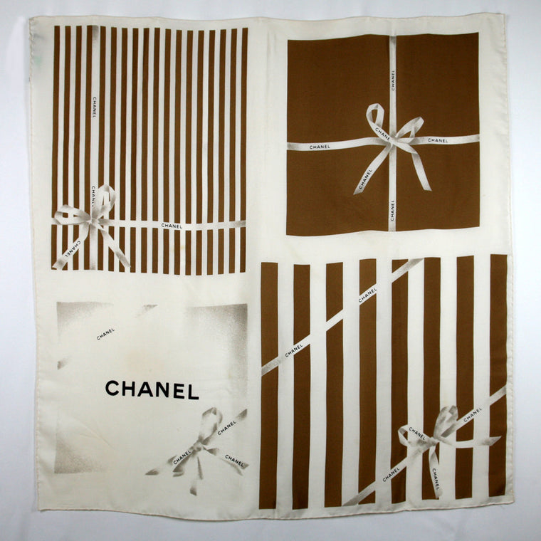 "Chanel Cream with Taupe Stripe & Black ""Chanel"" Print Scarf"