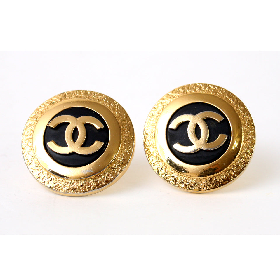 Chanel Clip Large Round Gold Black Earrings