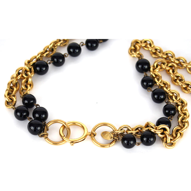 Chanel Vintage 1984 Double Chain with Black Beads