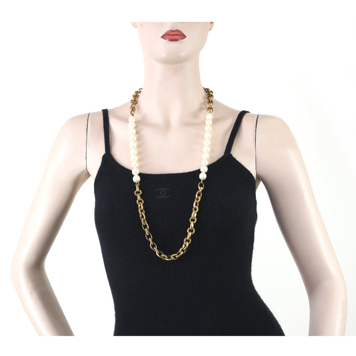 Chanel Vintage 1980's Gold Chain with White Pearls