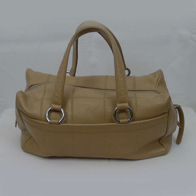CHANEL Tan Leather Square Stitch Handbag (AS IS-lining stains)