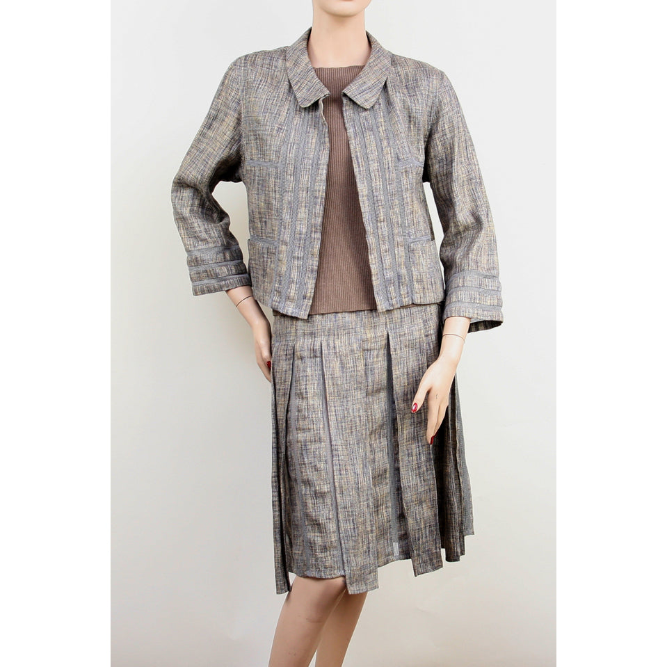 Chanel 3pc Skirt, Jacket and Top Taupe Suit Size 6/8