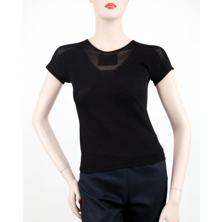 Chanel Short Sleeve Boat Neck Black Top Size 4/6