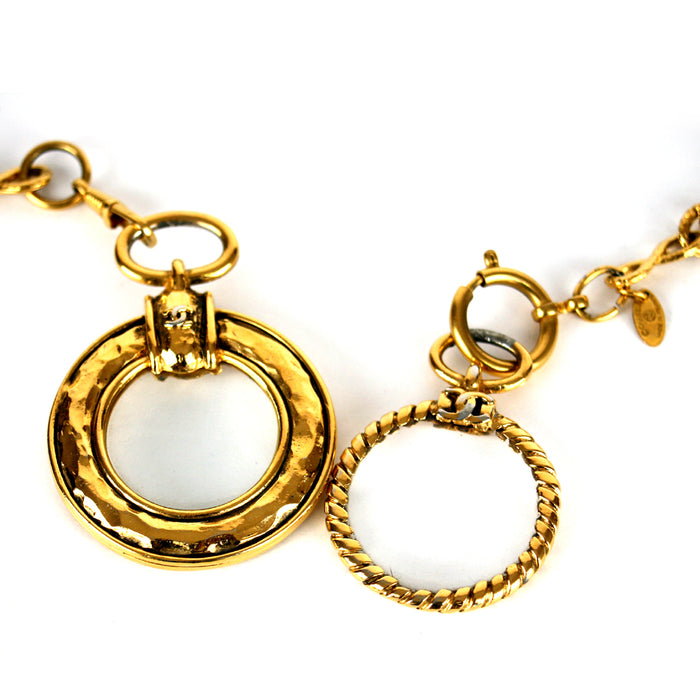 Chanel Vintage 1984 Long Gold Chain with 2 Round Magnifying Glass Drops