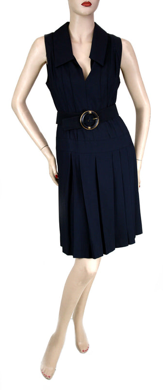 Vintage Chanel V-Neck Navy Dress with Belt Size 4