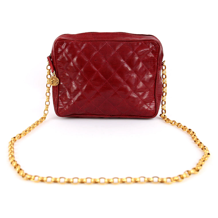 Chanel Vintage Lizard Skin Red Handbag