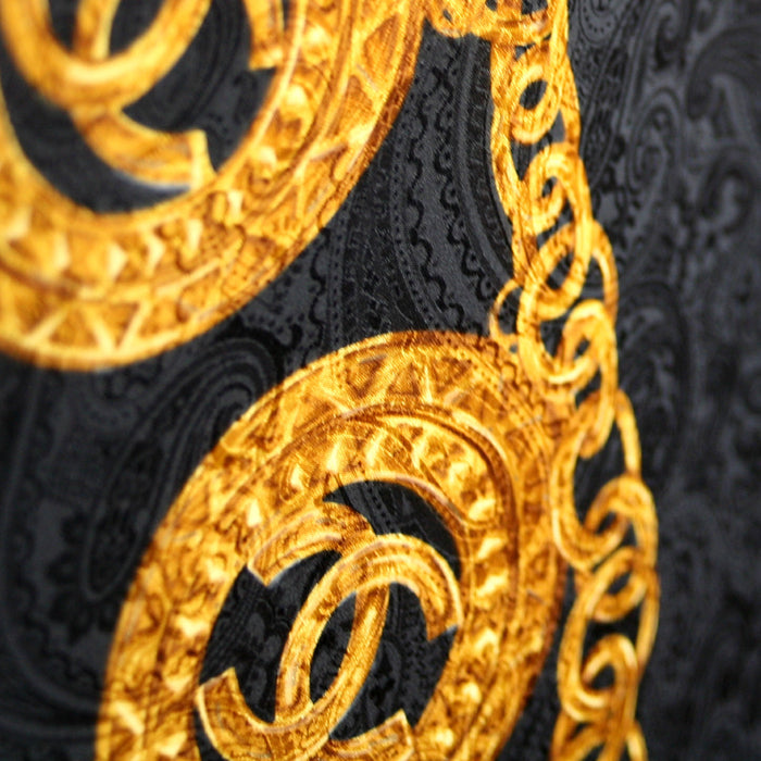 Chanel Rare, Black with Gold Chain Logo Scarf
