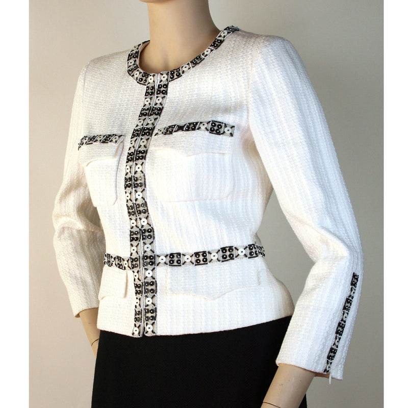 Chanel Long Sleeve Zip Front with Beaded Trim White Jacket Size 6/8