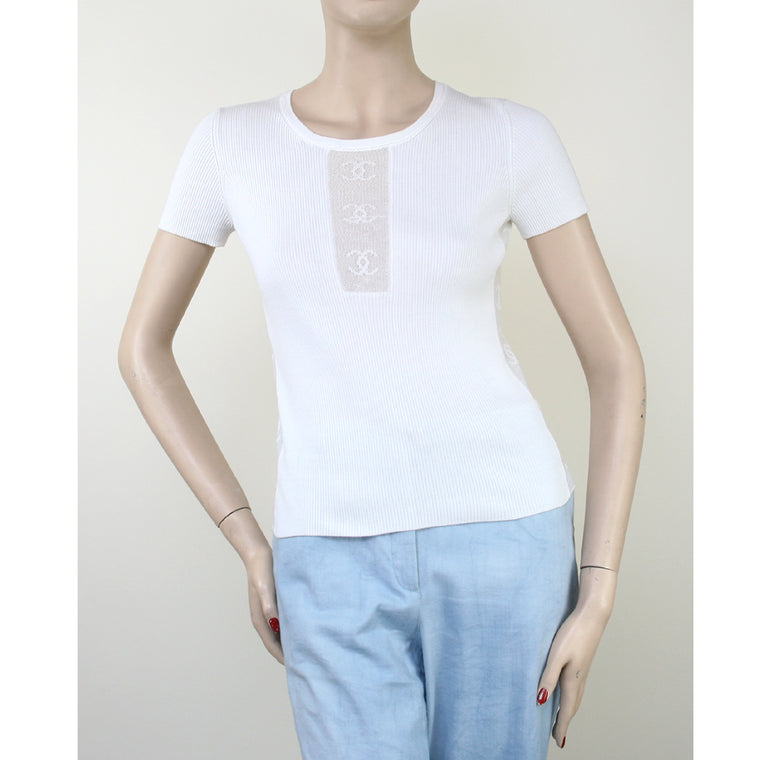 "Chanel Short Sleeve White With ""CC"" Mesh Panels White Top Size 4/6"