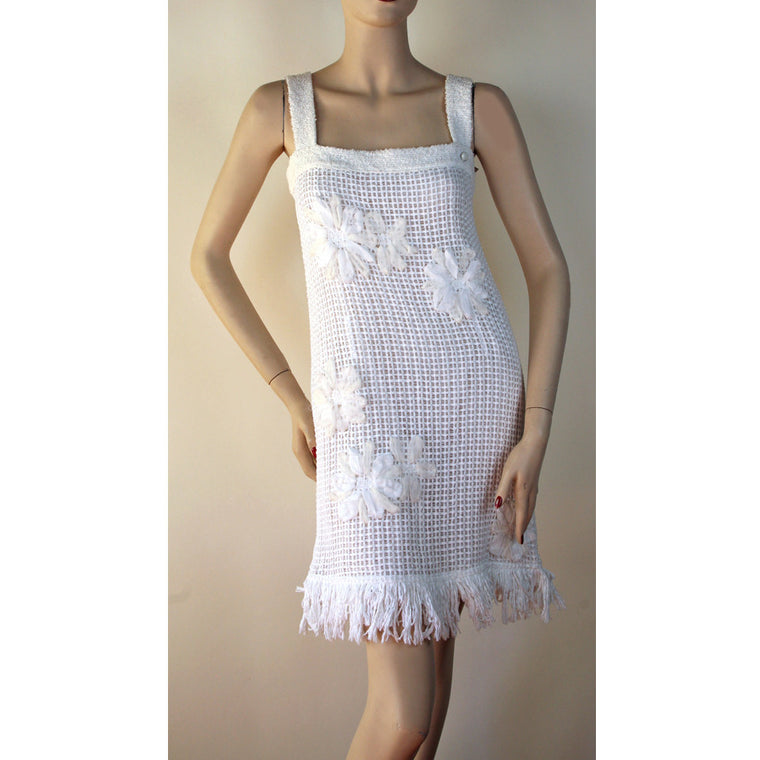Chanel Shoulder Straps Square Neck White Dress Size 4/6