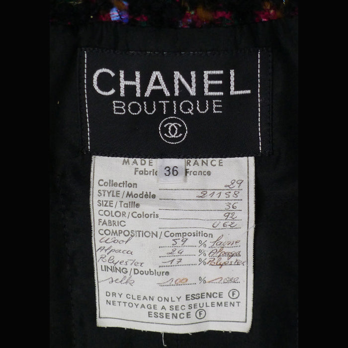 Chanel Long Sleeve Multi –Color Tweed Jacket with Braided Leather Trim  Size 2/4