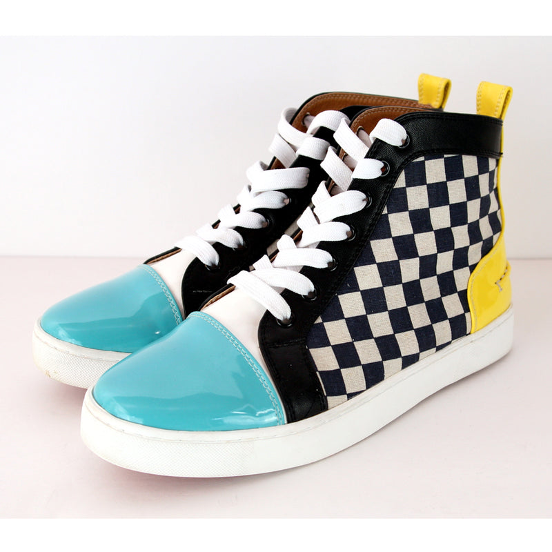 Christian Louboutin High Top Lace Up Sport Multi Color Black White Checkered Shoes Size 9.5