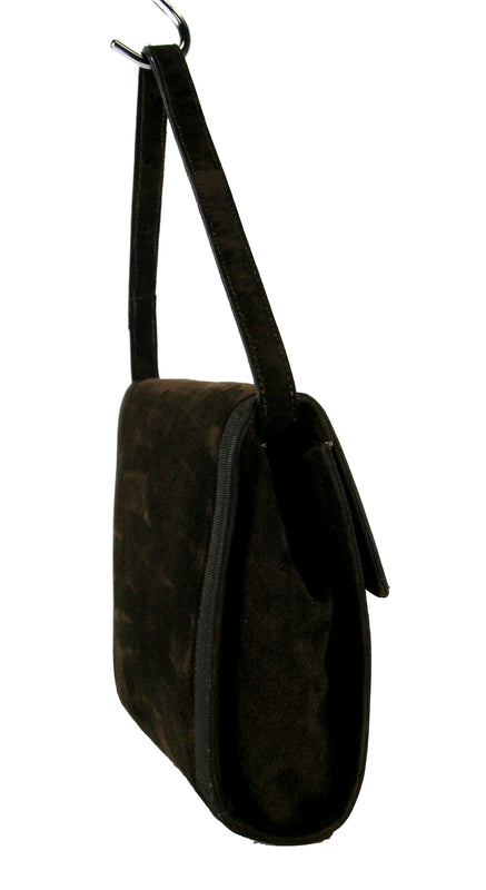 Salvatore Ferragamo Vintage Chocolate Brown Suede Flap Handbag