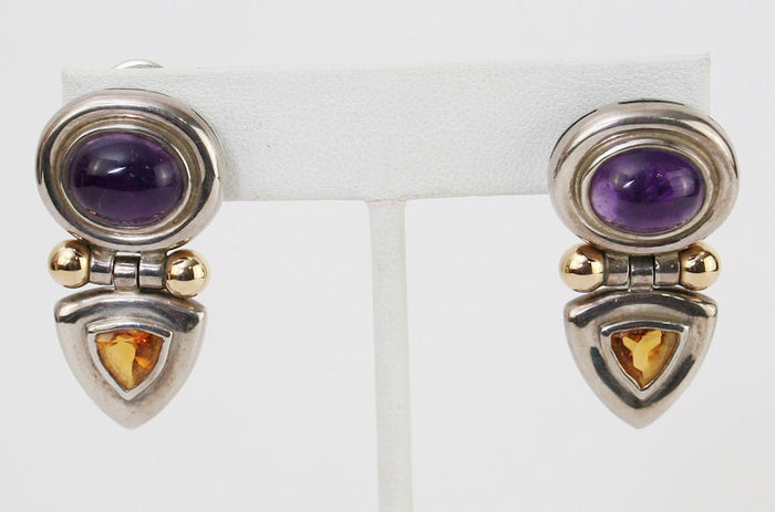 David Yurman Amethyst & Citrine Stones with 14K Gold Sterling Silver Earrings