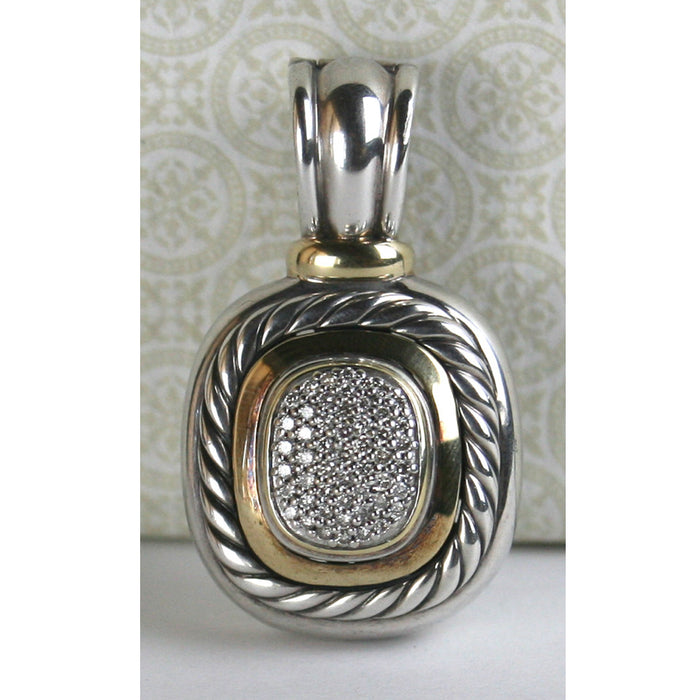 David Yurman Sterling Silver & Gold with Pave Diamond Noblesse Pendant