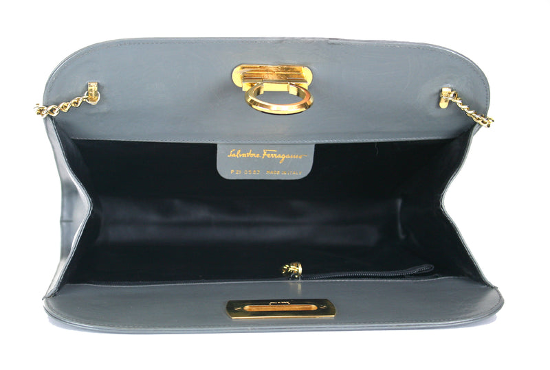 Vintage Salvatore Ferragamo Grey Clutch Handbag