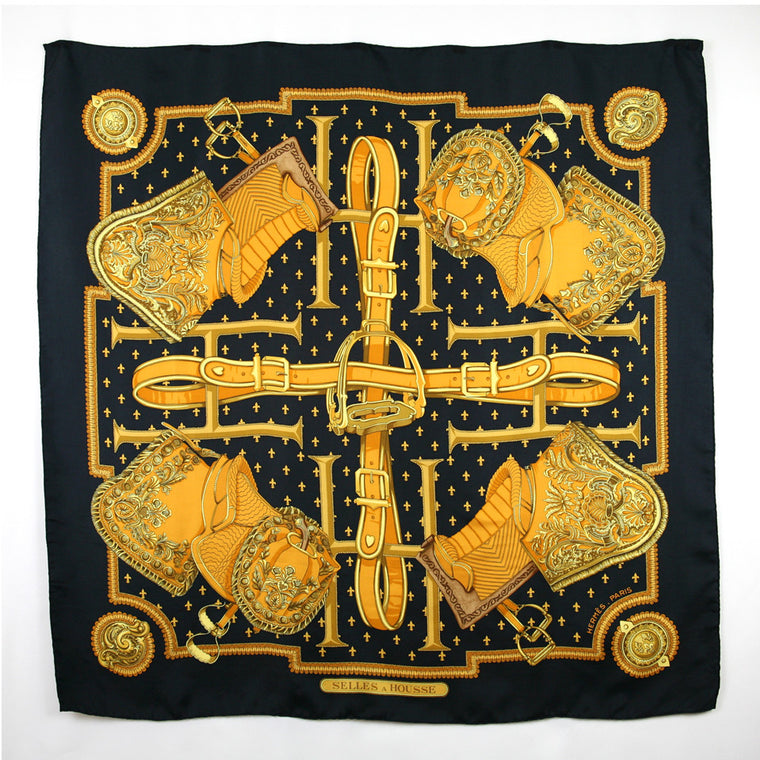 "Hermes ""Selles A Housse"" 1968 Desinged by Christiane Vauzelles, Black Gold Scarf"