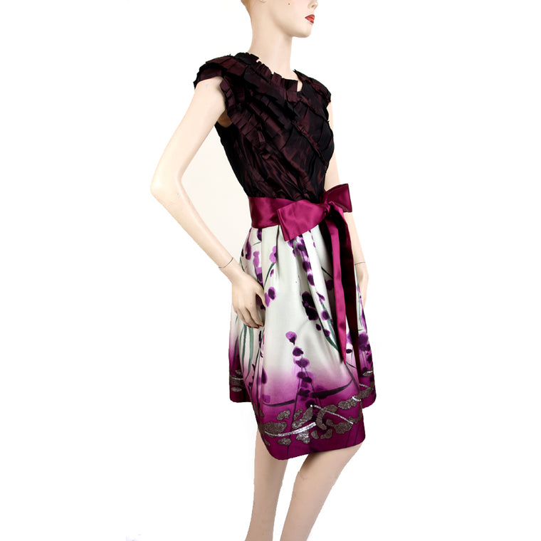 Oscar De La Renta 2pc Top & Plum Print Skirt Size 2 & 4